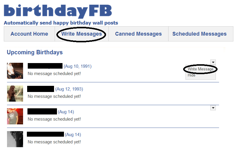 Schedule birthday wishes